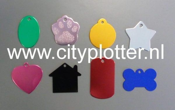 Tags tag assorti huis botje pootje hart ster ovaal rond naamplaatje label 8 stuks om te graveren of met vinyl te beplakken Cityplotter Zaandam