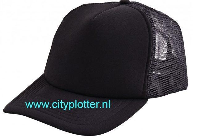 Pet zwart cap black om te bedrukken trucker caps verstelbare Cityplotter Zaandam