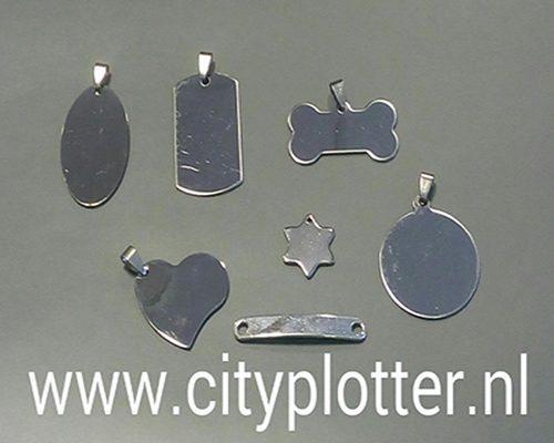 Tags labels om te graveren of met vinyl te beplakken Cityplotter Zaandam 7 stuks