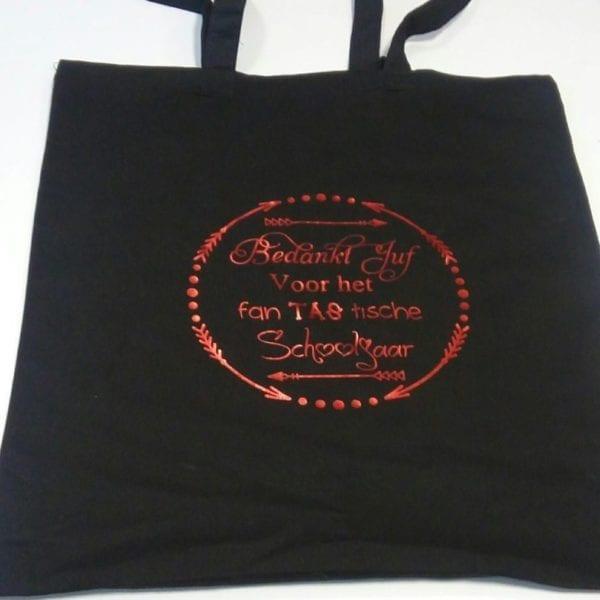 tas zwart met rode letters fan tas tische juf