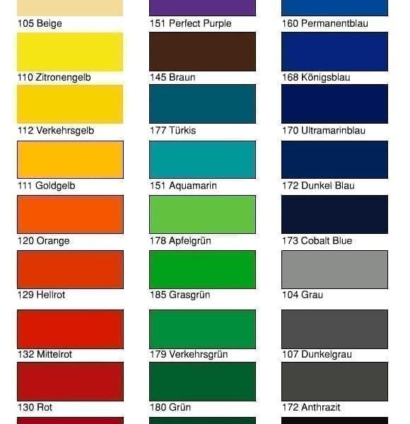 Kleurenkaart Vinylfolies Ritrama Glans RI-Mark L100 serie Cityplotter Zaandam