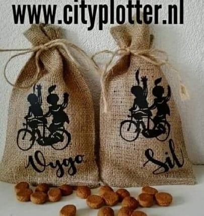 pietenzakje met naam pieten op de fiets cityplotter