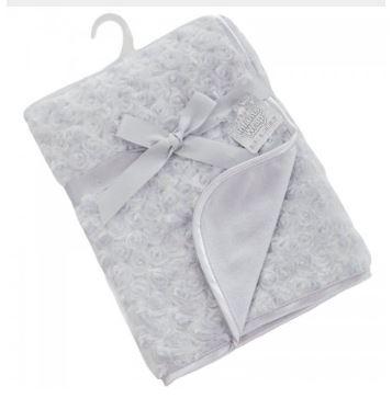 deken grijs rozen baby fleece wrap soft touch cityplotter