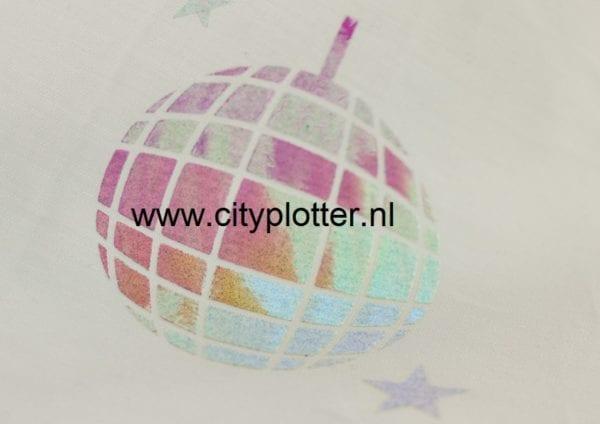 flexfolie disco blauw op wit cityplotter zaandam