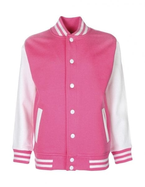 Varsity jacket bubblegum white cityplotter