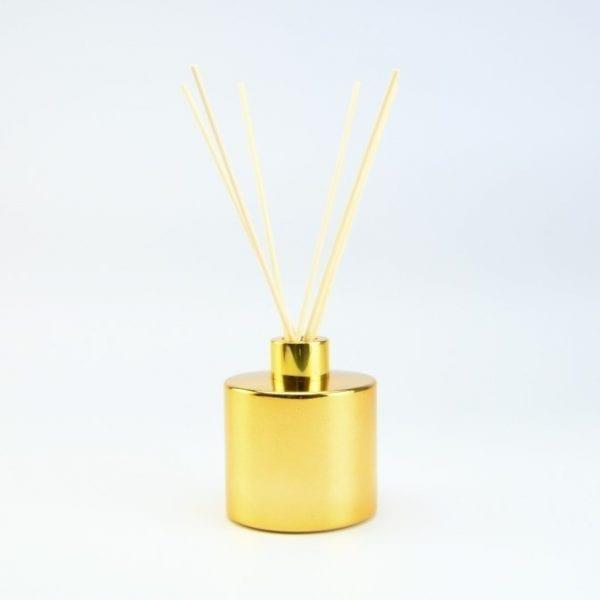 set-parfumfles-cylinder-goud-met-gouden-schroefdop-geurstokjes-200ml cityplotter