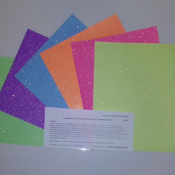 Flex Folie 6 Neon Glitter Voordeel Pakket verschillende kleuren maar €13,99 PK0XSTFLEXGN6 Cityplotter Zaandam