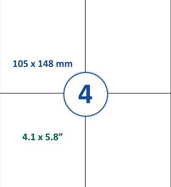 Stickervellen A4 in 4 delen A6 Bedrukbaar met Laser of Inktjet Printer Cityplotter Zaandam