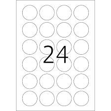 Stickervellen A4 in 24 rondjes 40mm Bedrukbaar met Laser of Inktjet Printer Cityplotter Zaandam