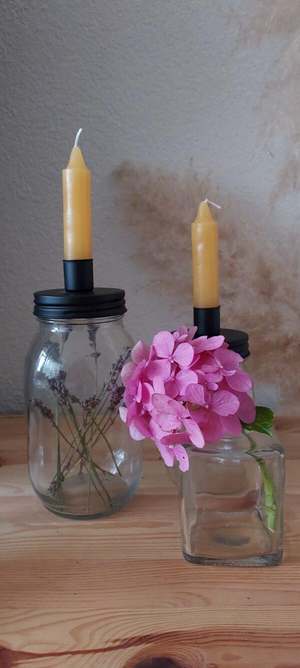 glazenpot zwart met lavendel en vaasje cityplotter